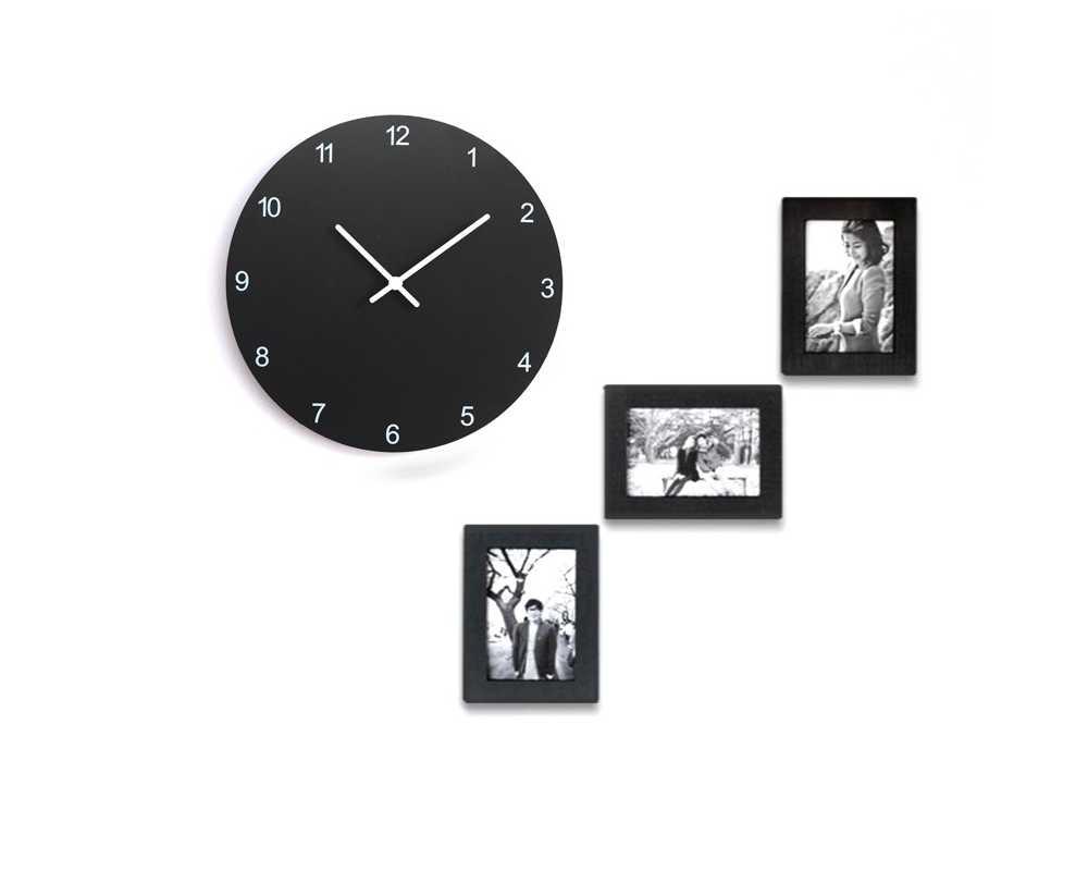 Zegar z ramkami na zdjęcia - Nowoczesny zegar ścienny Happy Hour Frame ramki ramka 3 zdjęcia