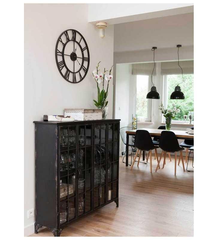 Metalowy zegar ścienny VINTAGE Shabby LOFT 58 cm czarny - dekoracyjny zegar wiszący - wyposażenie wnętrz