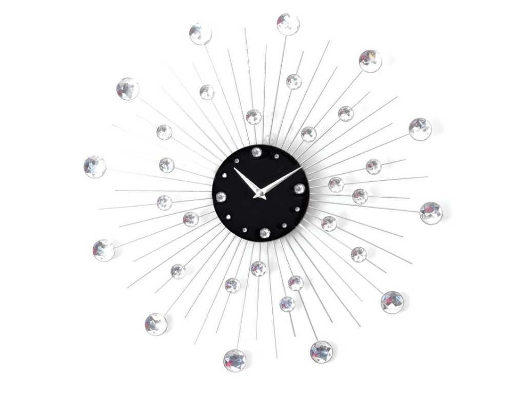 Zegar ścienny Crystal - DIamond - Nowoczesny zegar ścienny Nextgeneration DIAMOND 905  minimal efekt lustra cyrkonie e-9