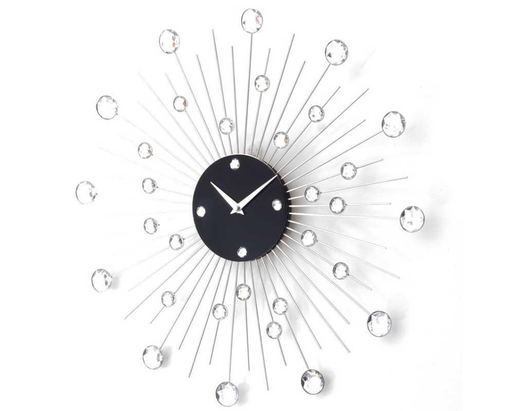 Zegar ścienny Crystal - DIamond - Nowoczesny zegar ścienny Nextgeneration DIAMOND 905  minimal efekt lustra cyrkonie e-10