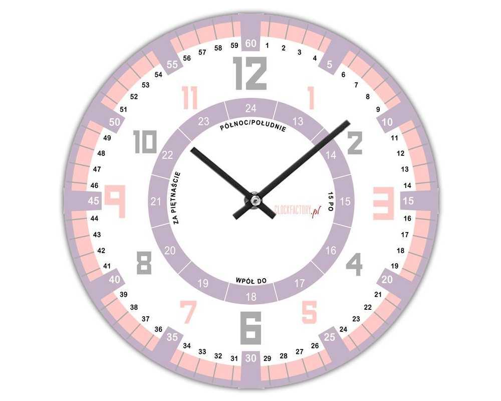 Zegar dla dzieci ścienny Happy Hour do nauki godzin 6 dla dziewczynki