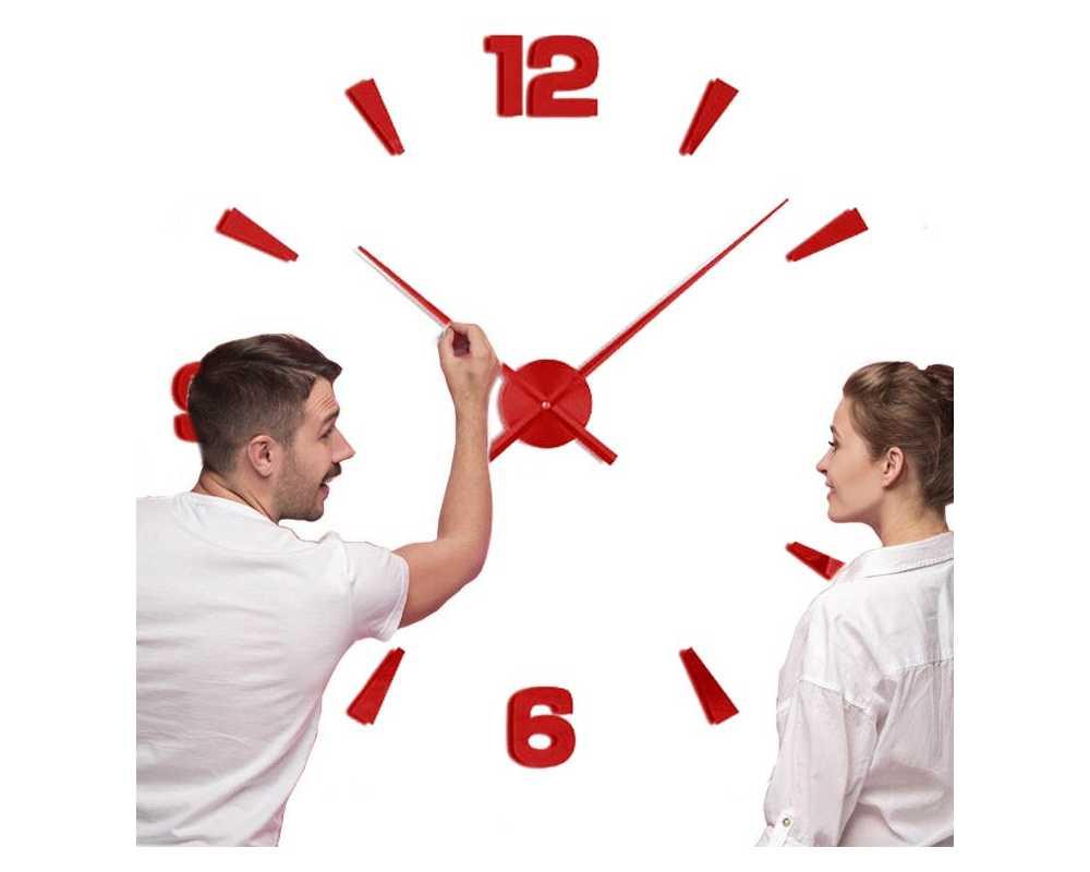 Zegar ścienny diy duży T4218 czerwony 130 cm