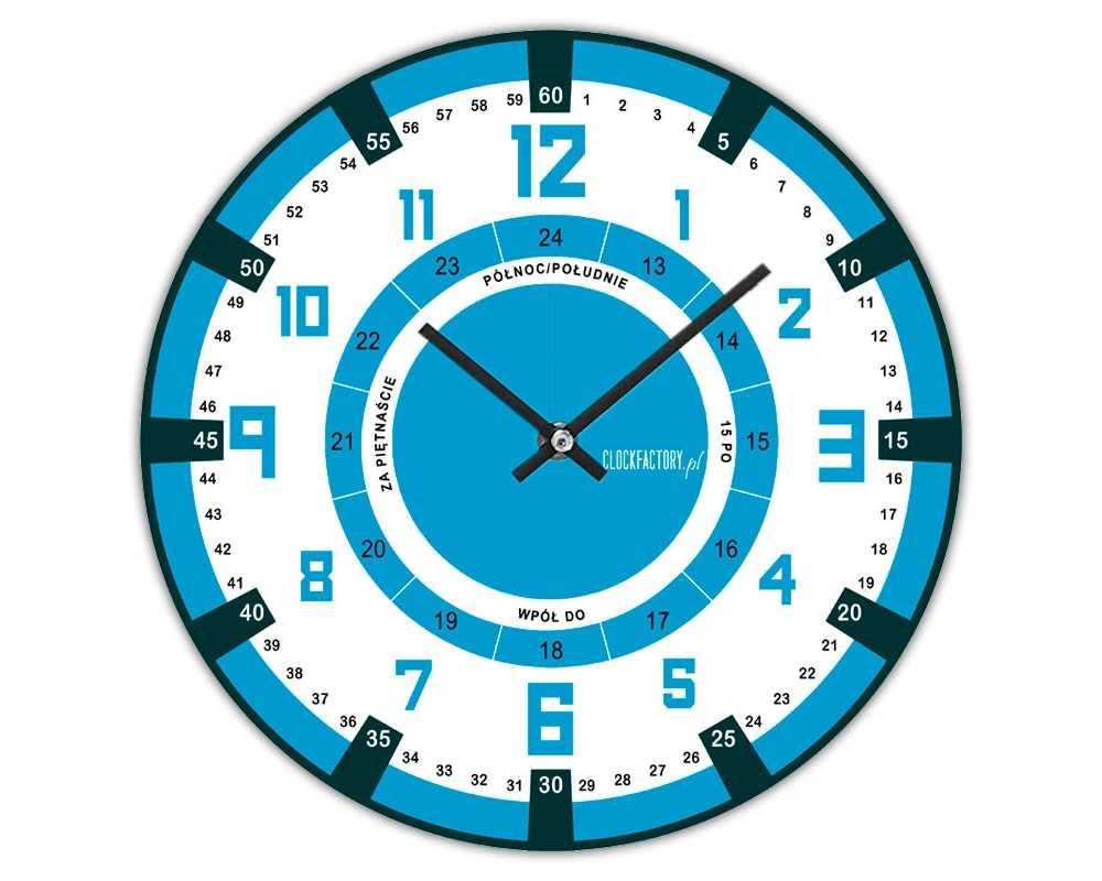Zegar dla dzieci ścienny Happy Hour do nauki godzin W7 niebieski