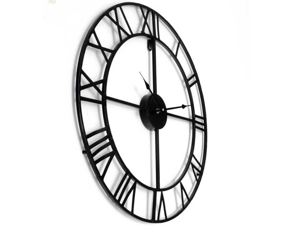 Metalowy zegar ścienny VINTAGE Shabby LOFT 80 cm czarny - dekoracyjny zegar wiszący - wyposażenie wnętrz